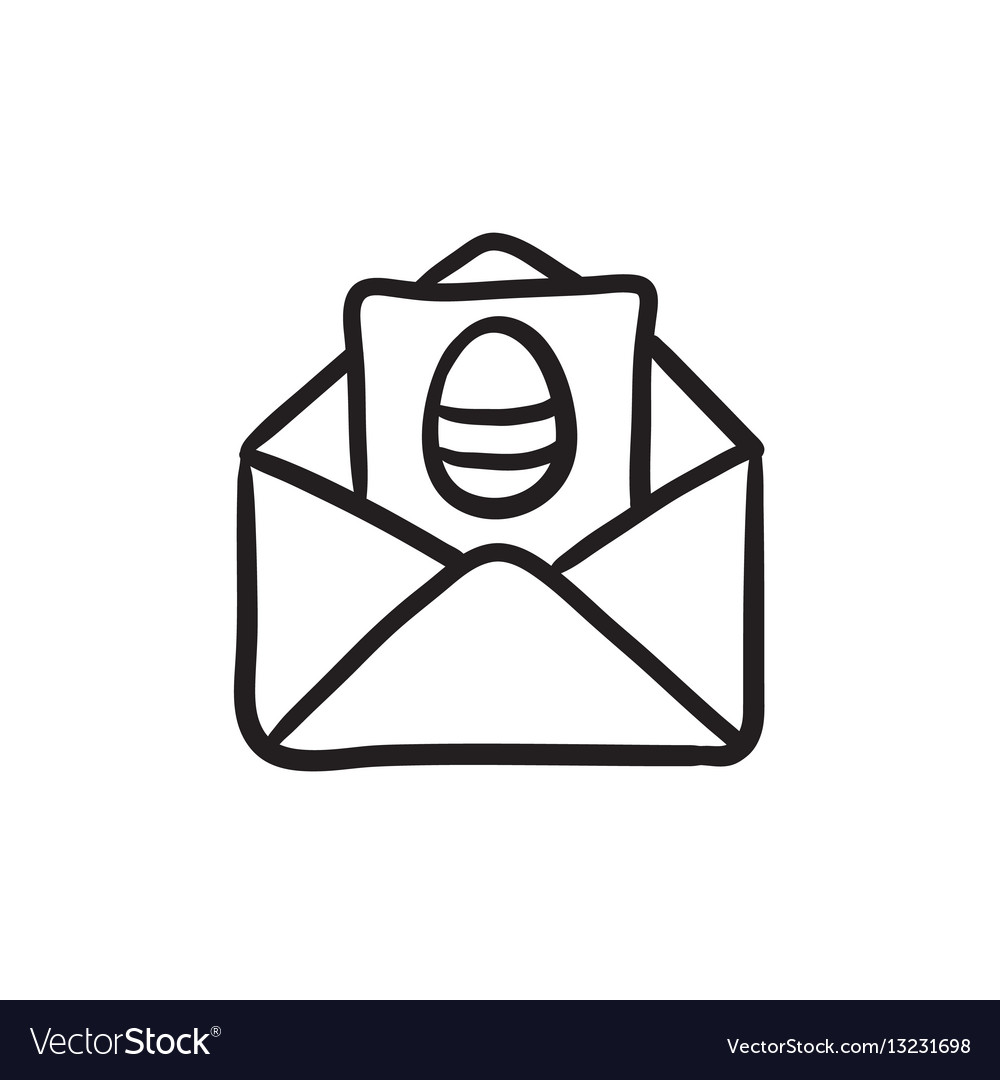 Easter greeting card in envelope sketch icon vector image kristyandbryce Gallery