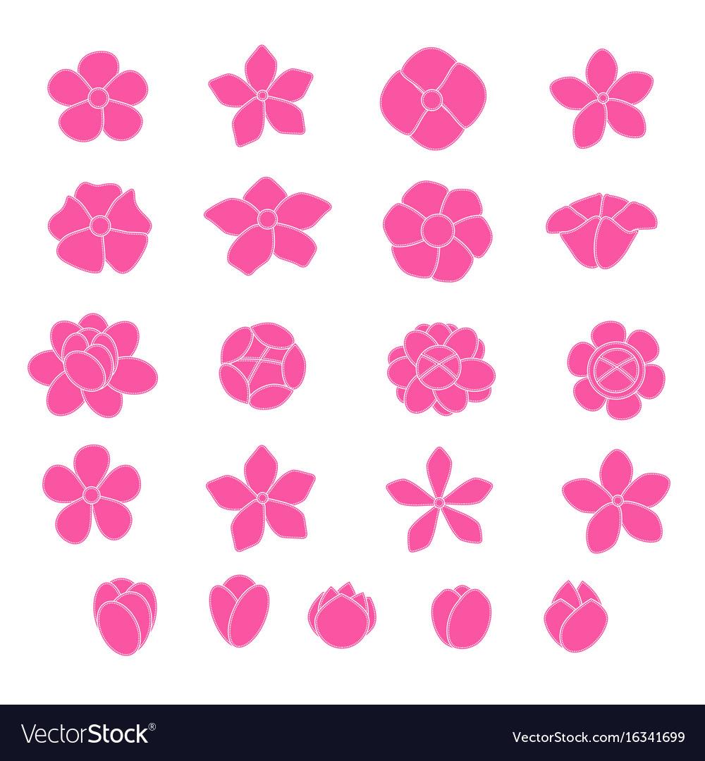 Pink flower icon set on white background vector image mightylinksfo Choice Image