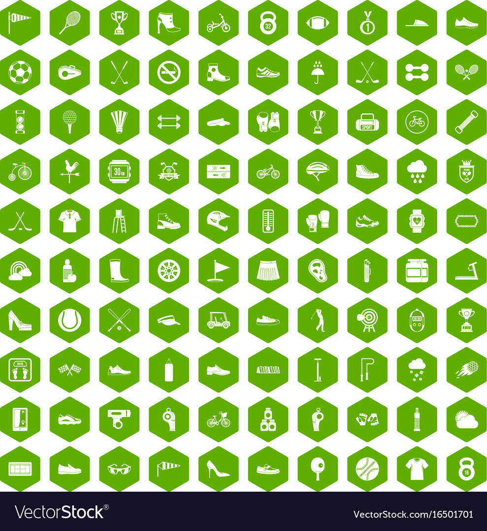 100 sneakers icons hexagon green vector image
