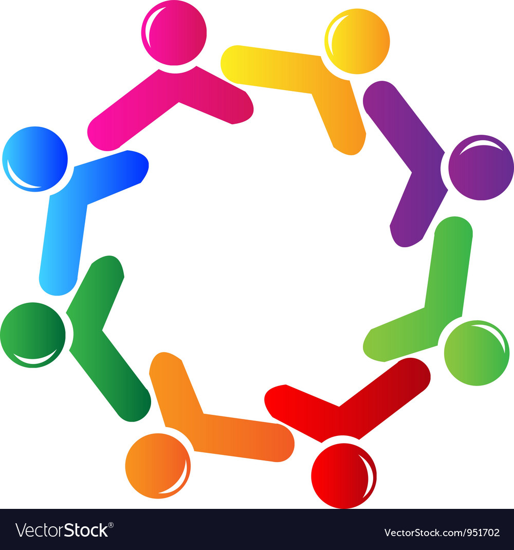 Teamwork social networking logo vector image