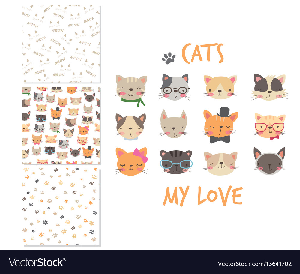 Cats heads cartoon surface design and 3 seamless vector image