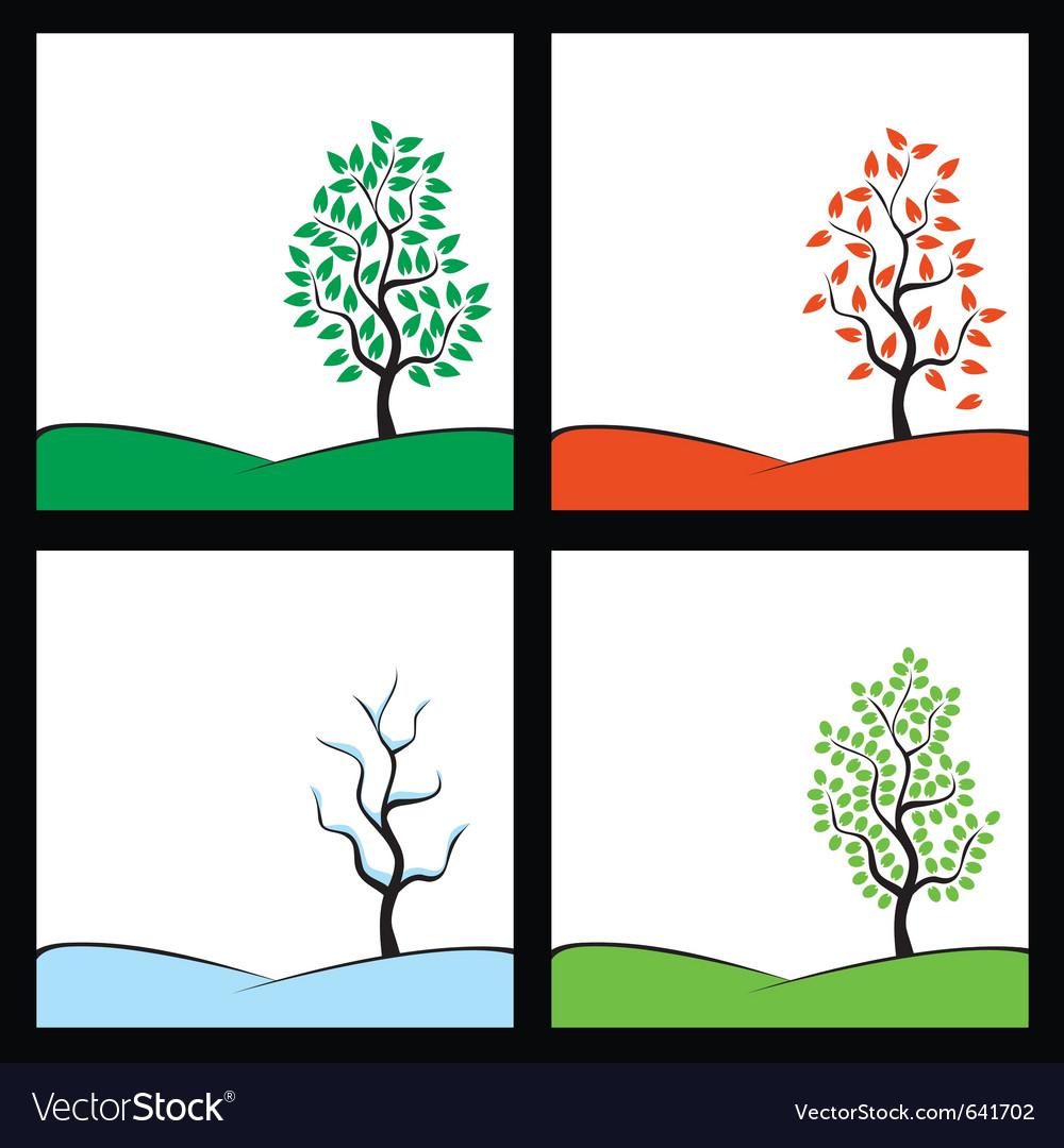Seasons tree on hill vector image