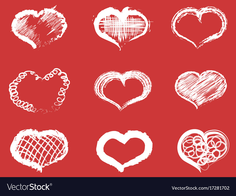White doodle heart icons set vector image