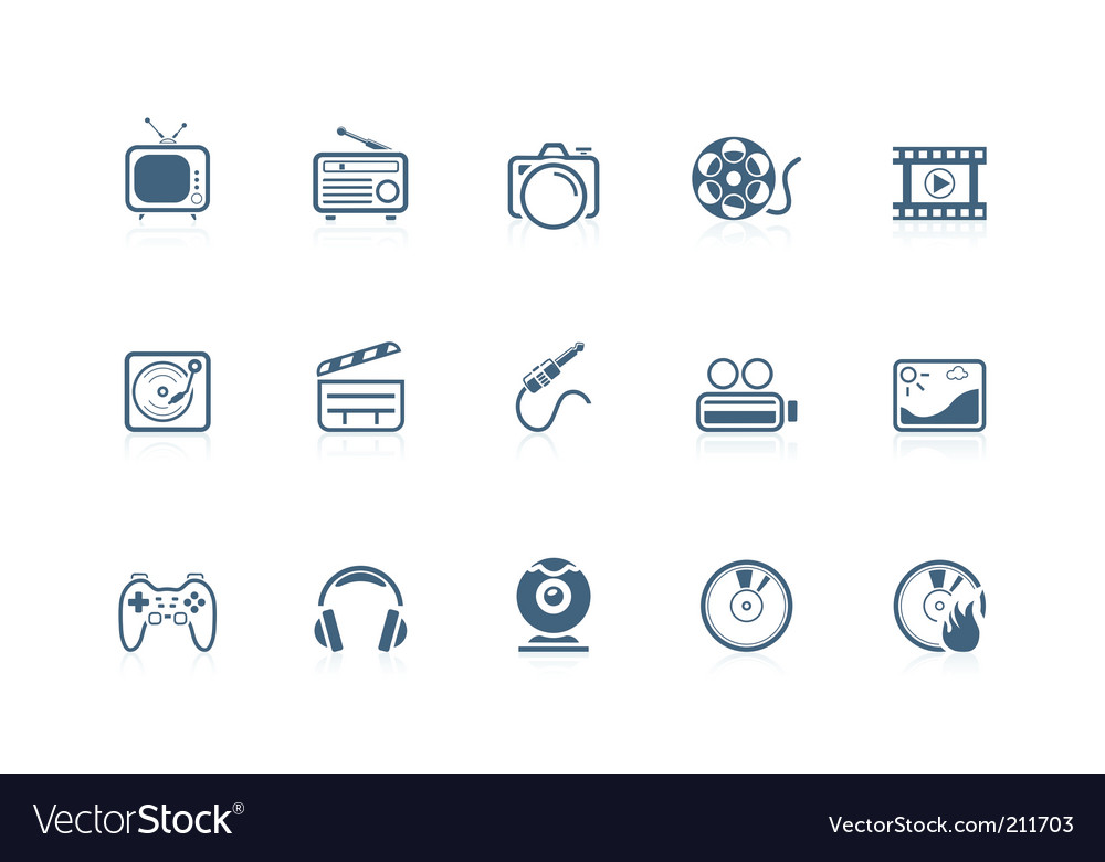 Media icons piccolo series vector image