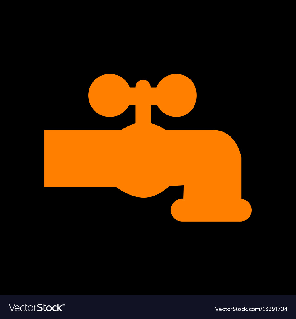 Water faucet sign orange icon on Royalty Free Vector Image