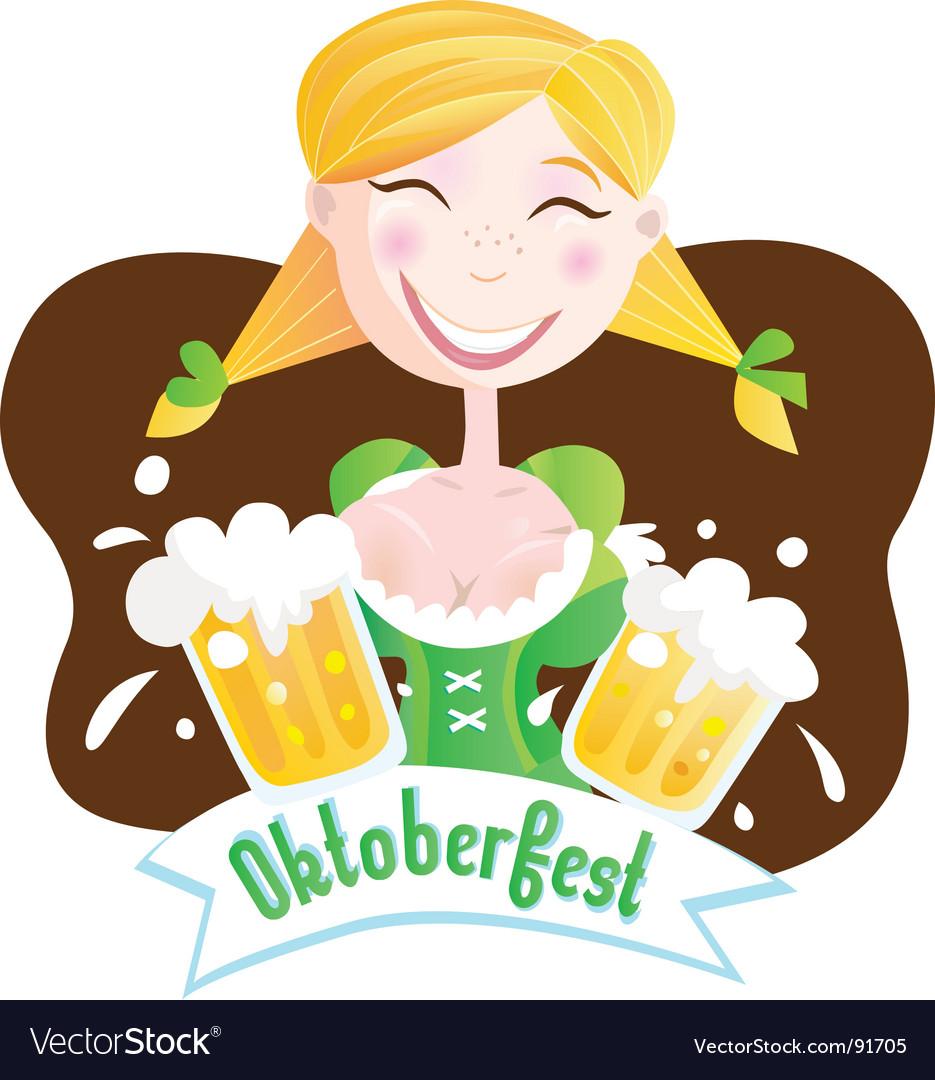 Octoberfest Bavarian girl vector image