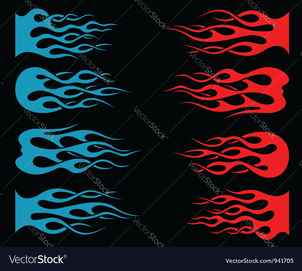 Set of tribal flames for tattoo and mascot vector image