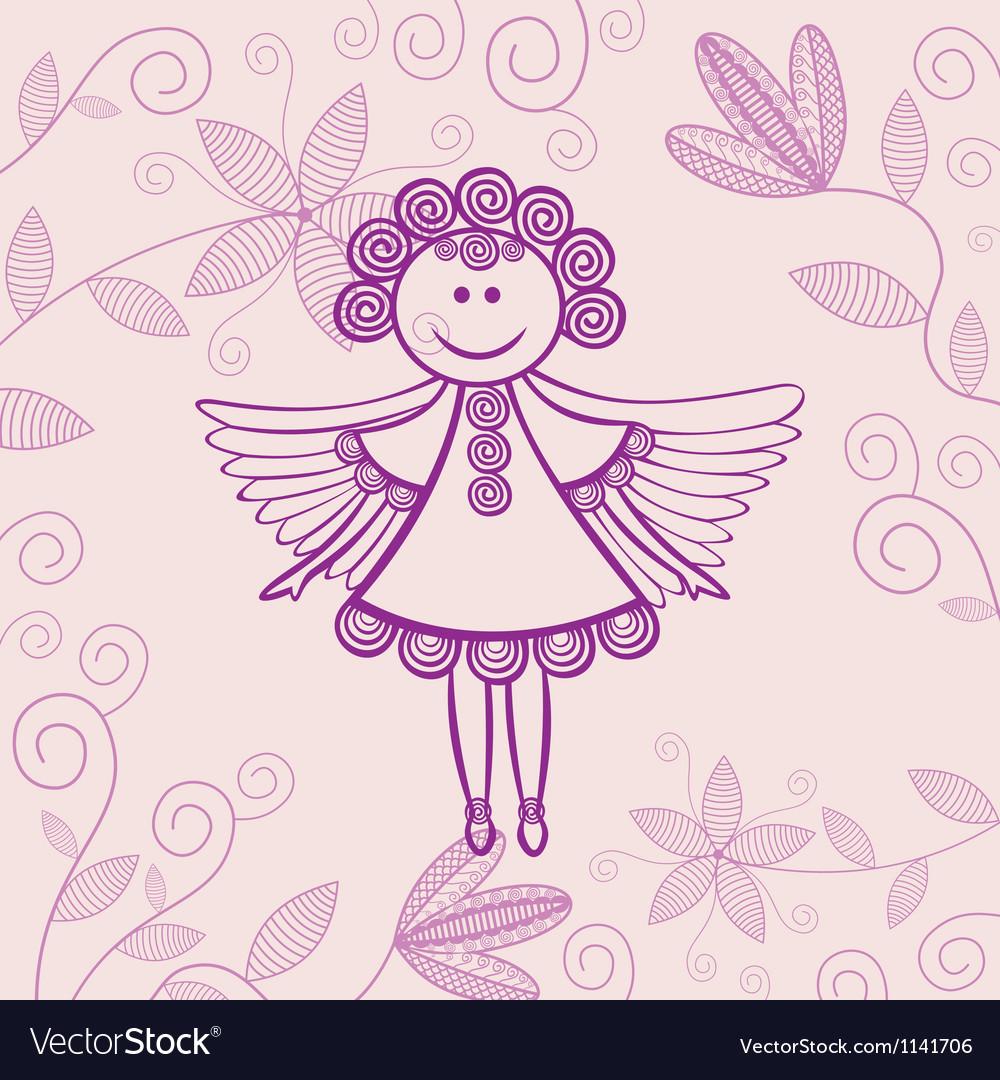 Angel floral background vector image