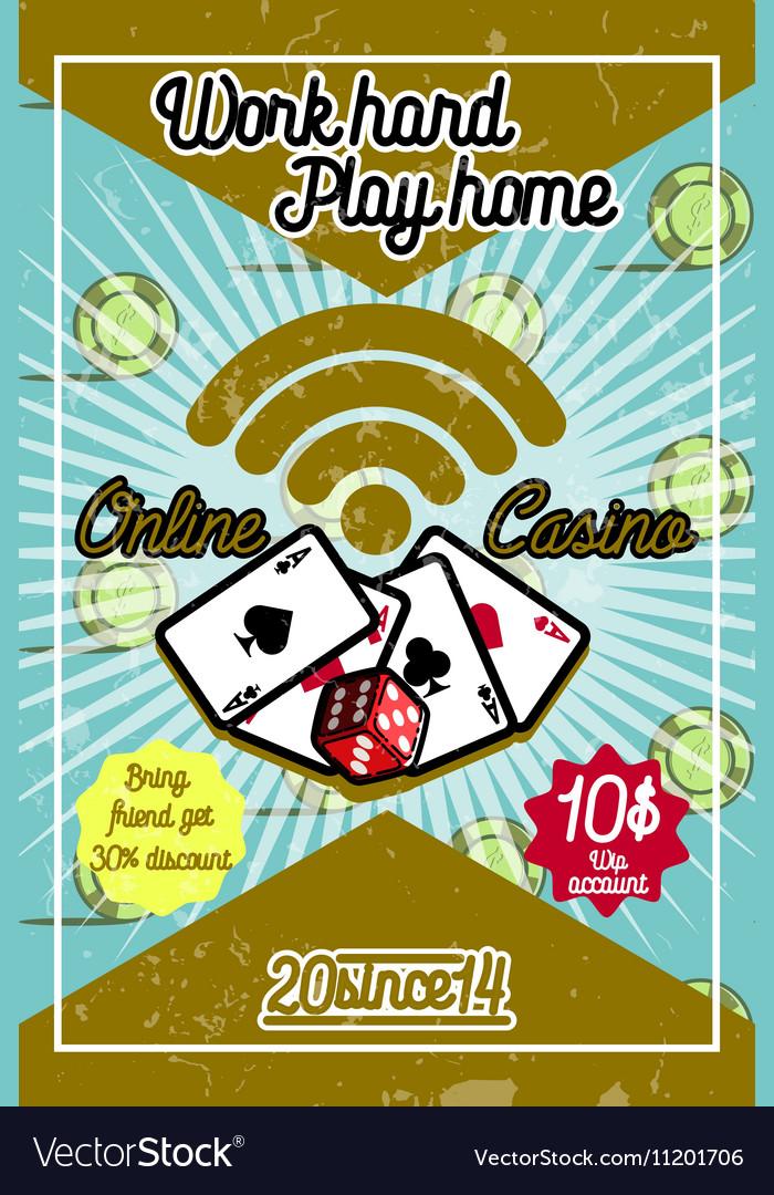 Color vintage online casino poster vector image