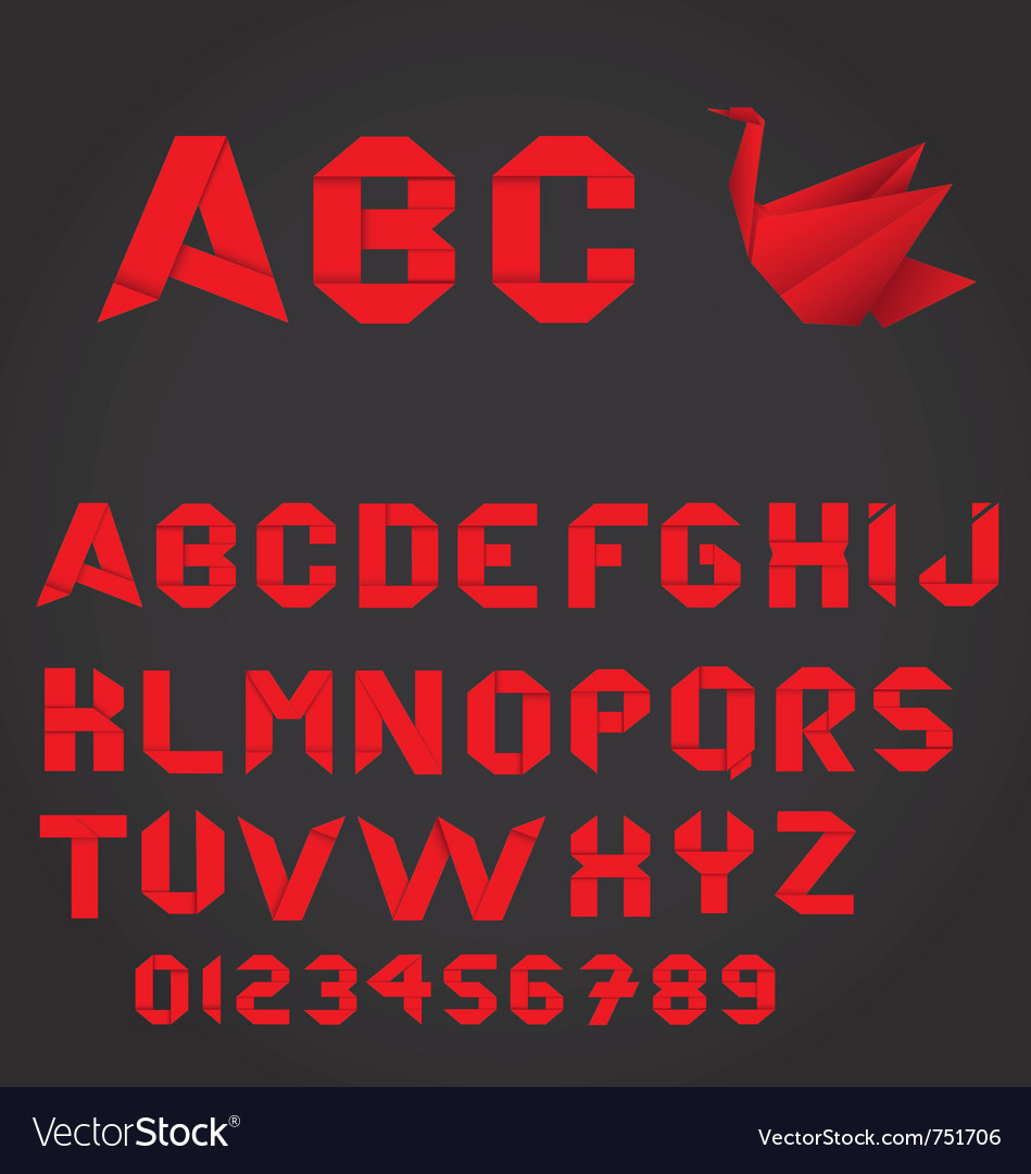 Red origami alphabet and numbers vector image