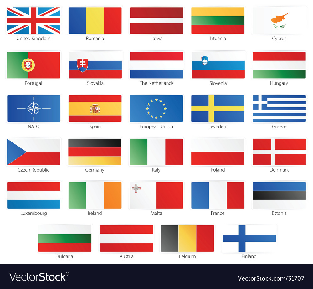 European union modern style flags vector image