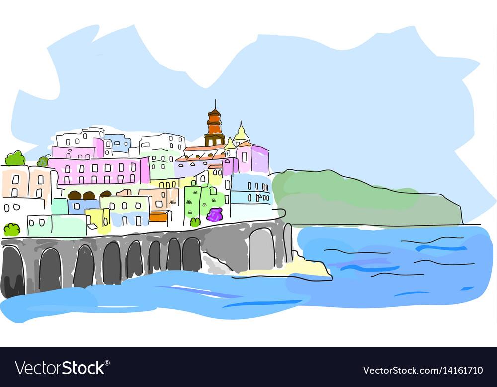 Mediterranean town sketch of sea town in vector image