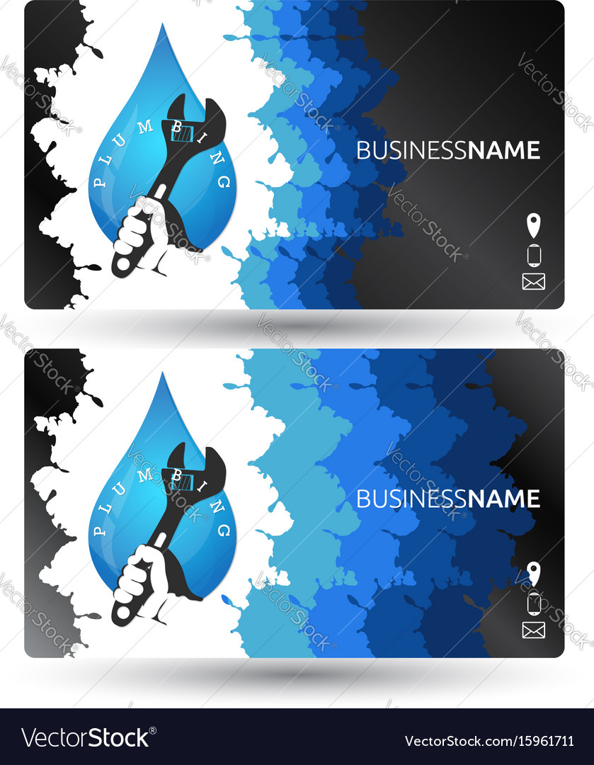 Plumbing business card design Royalty Free Vector Image