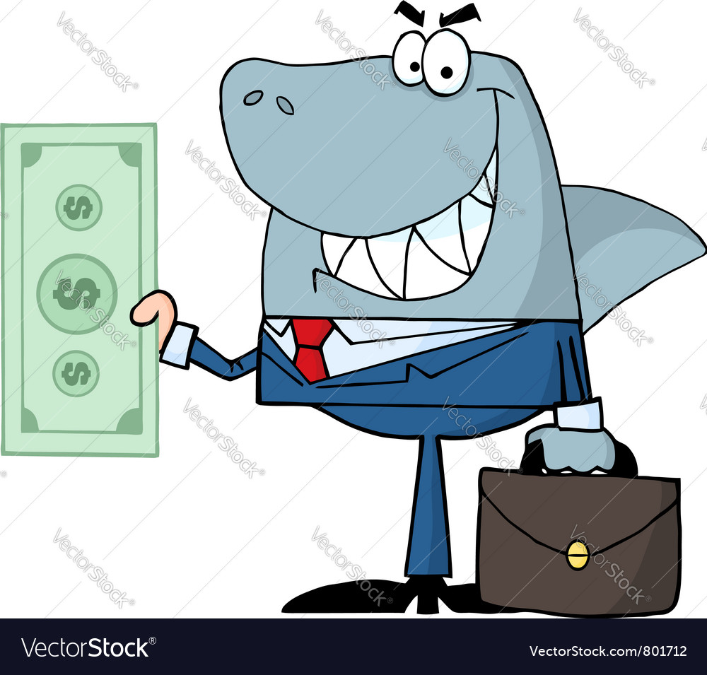 Smiled business shark holding cash vector image