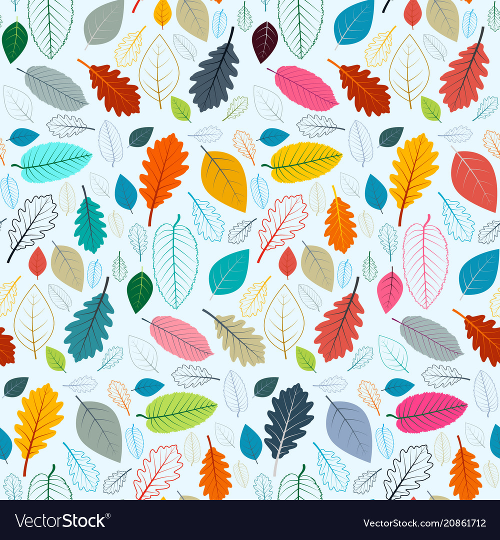 Colorful leaves seamless pattern suitable for vector image