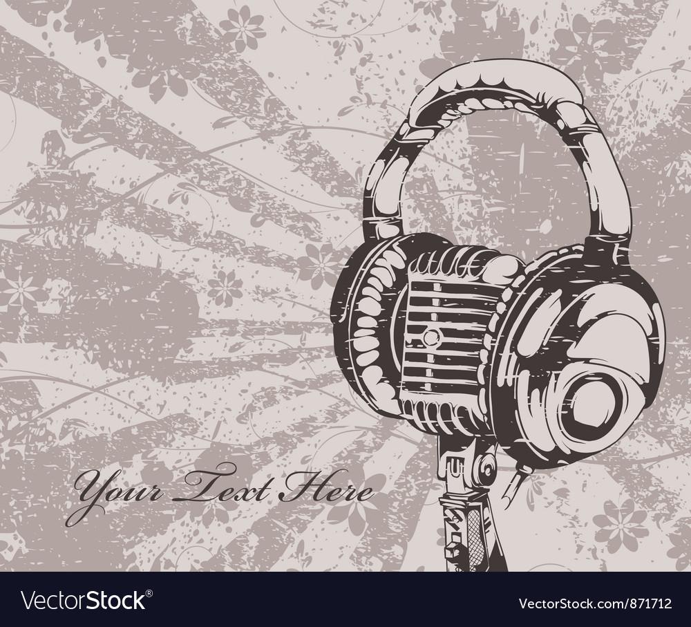 Headphones Wallpaper: Concert Wallpaper With Microphone And Headphones Vector Image