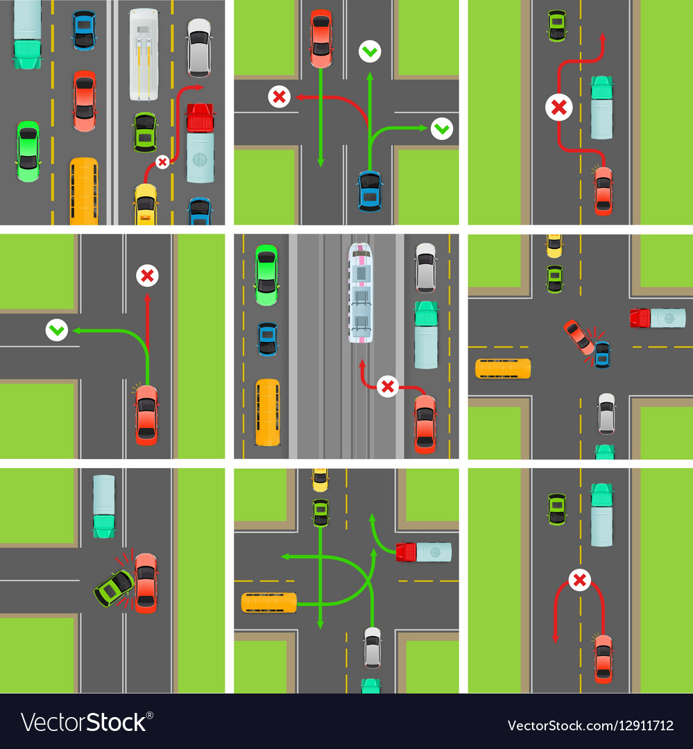 Set Of Situations On Road Traffic Laws Govern Vector Image