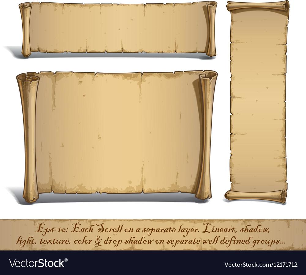 Three Cartoon Scrolls Standing Vertically vector image