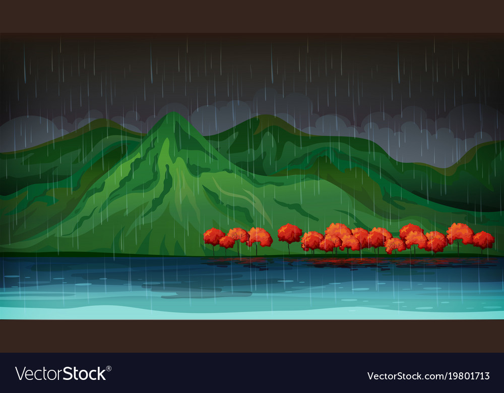 Nature scene with red trees and big lake vector image