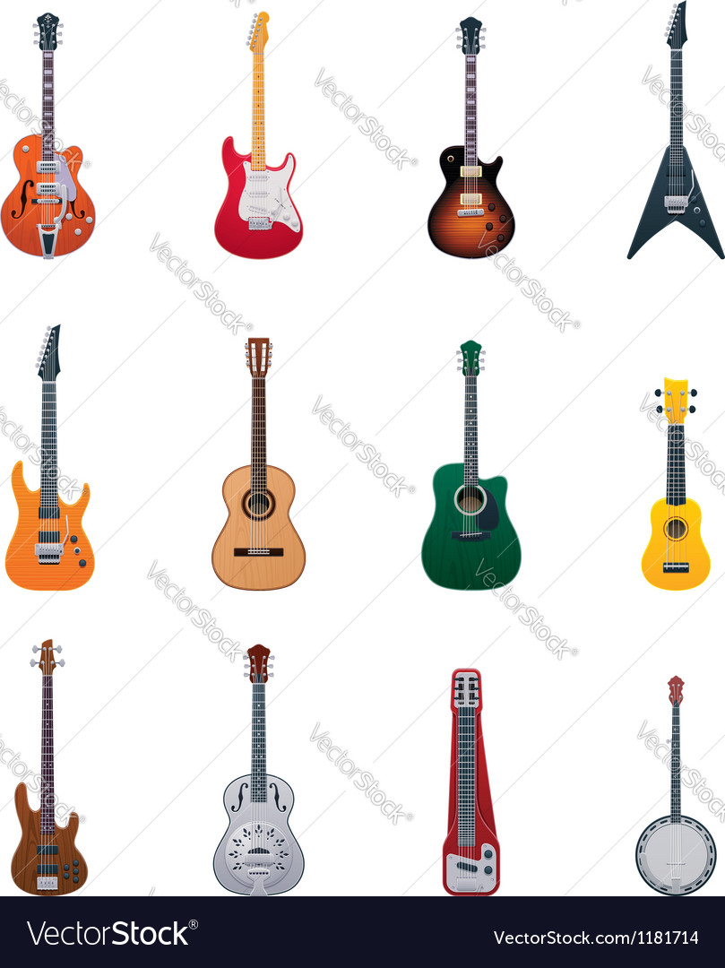 Guitars icon set Vector Image