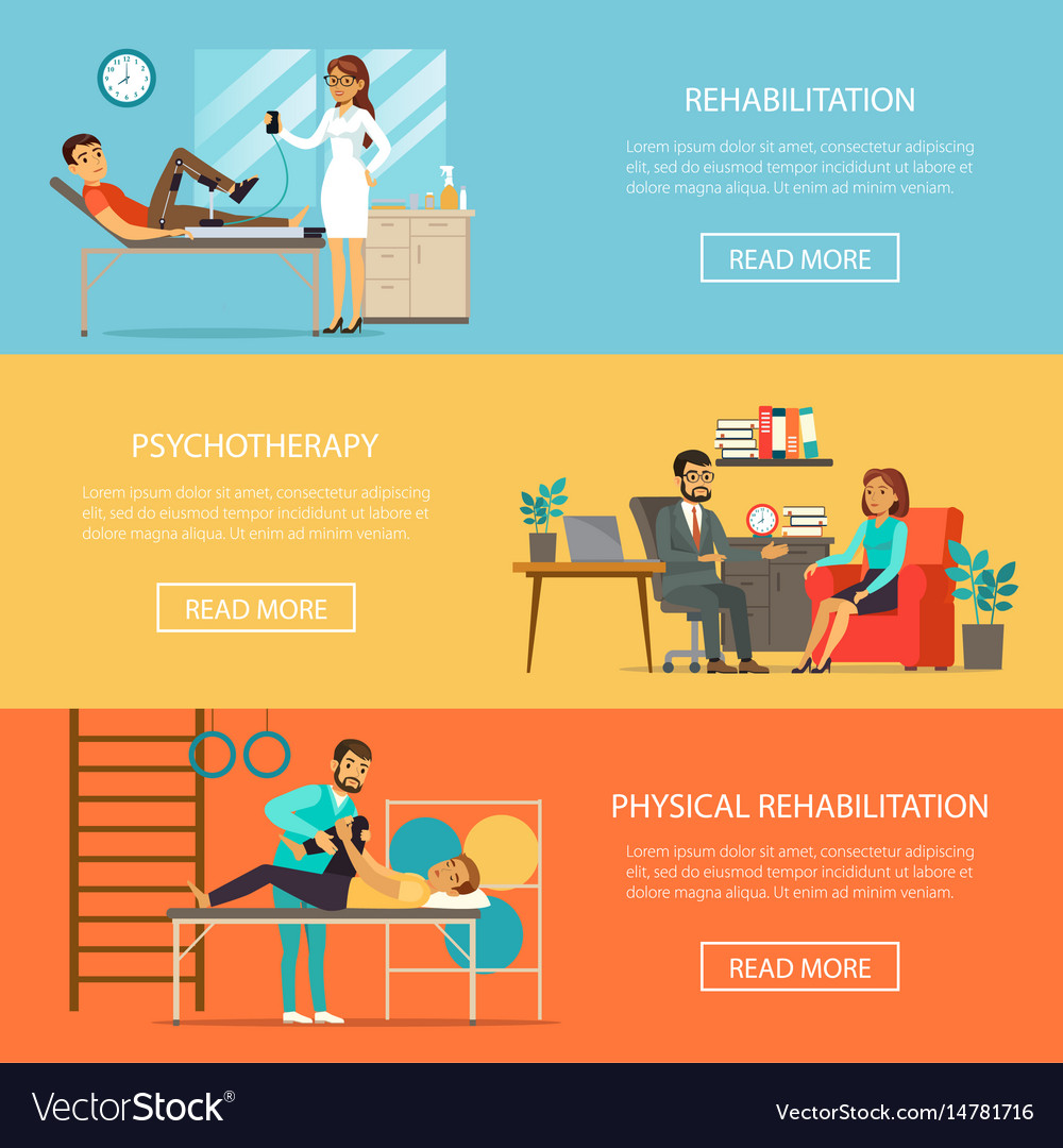 Medical therapy horizontal banners vector image