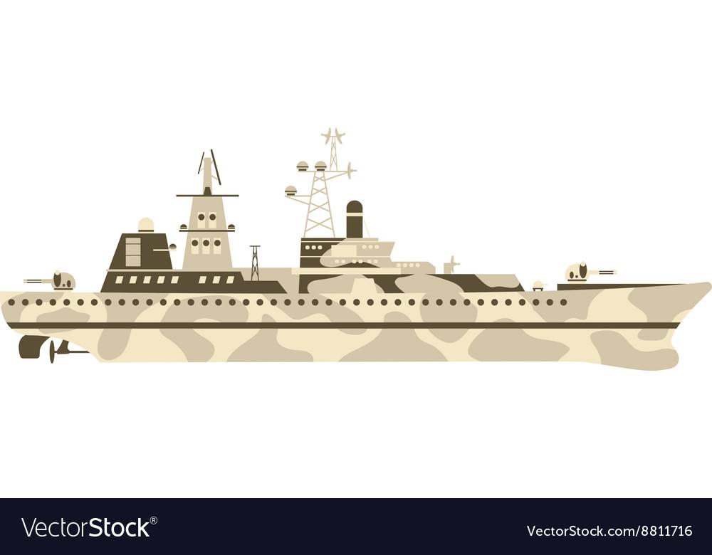 Military ship vector image