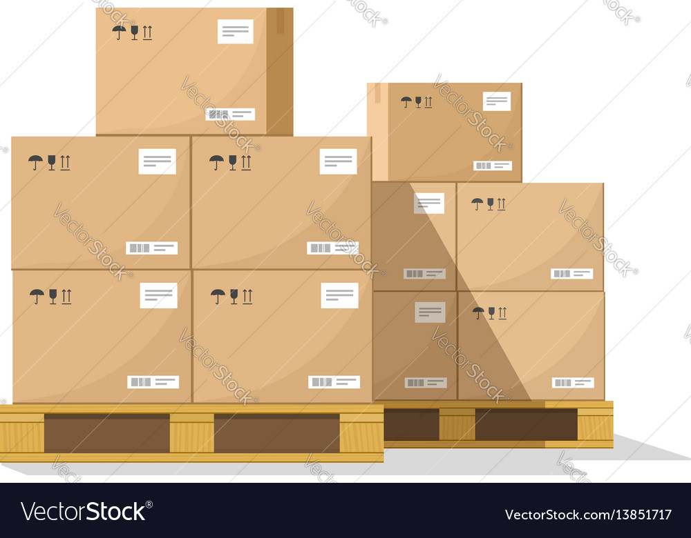 Boxes on wooded pallet flat warehouse vector image