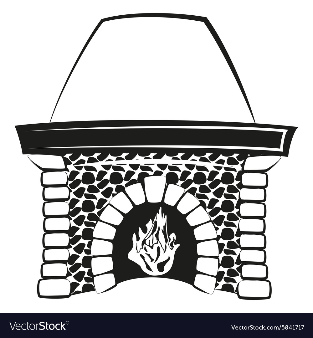 fireplace with fire silhouette royalty free vector image