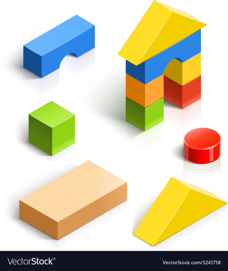 Brick house wooden toy set vector image