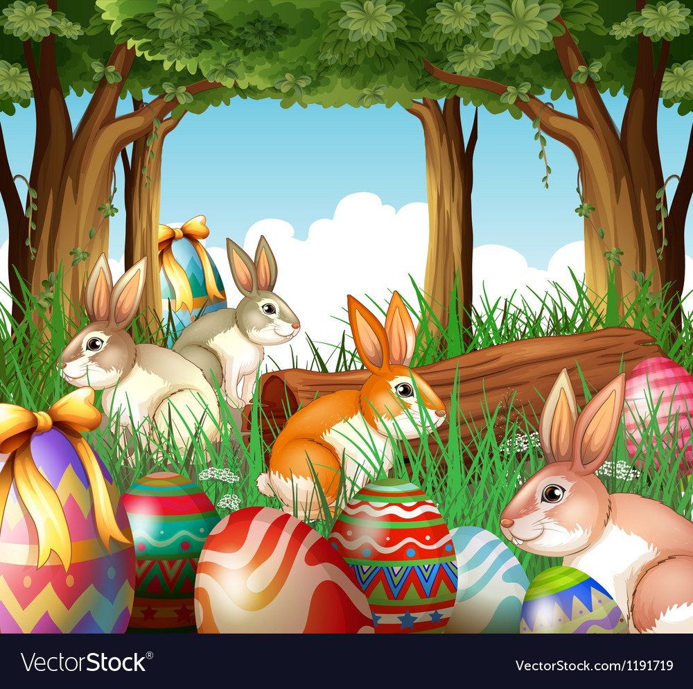 A group of bunnies and easter eggs vector image