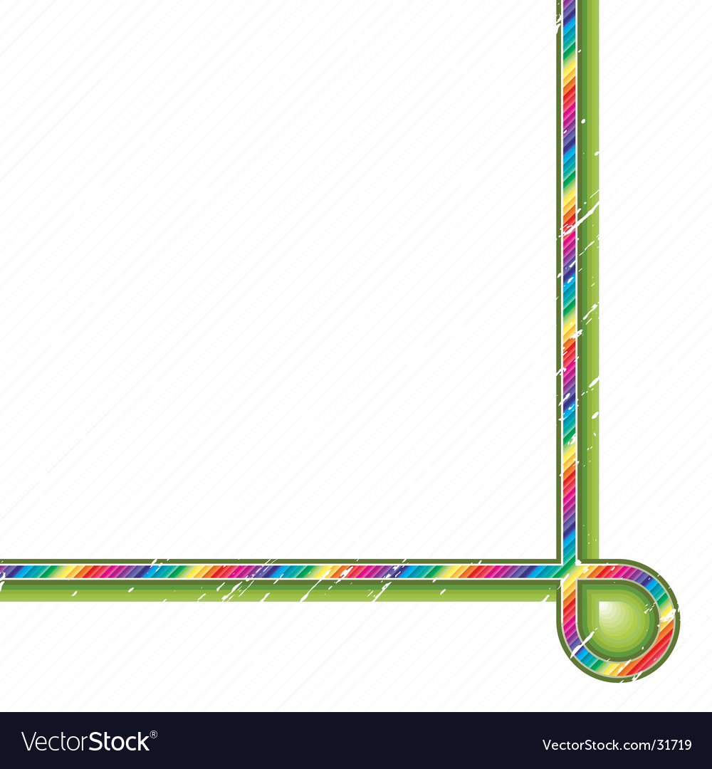 Rainbow green curve corner design vector image