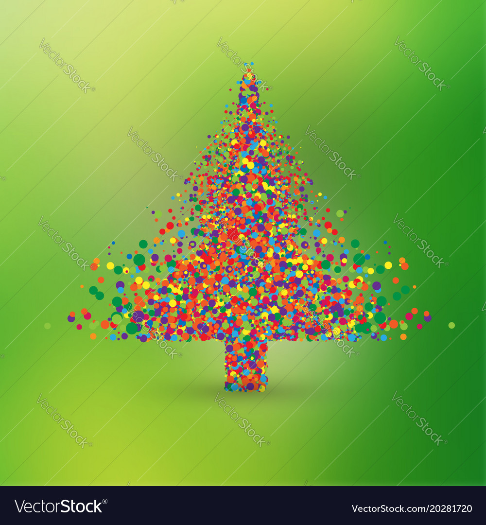 Christmas tree made by colorful dots Royalty Free Vector