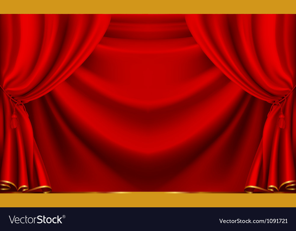 Red theater curtain vector image