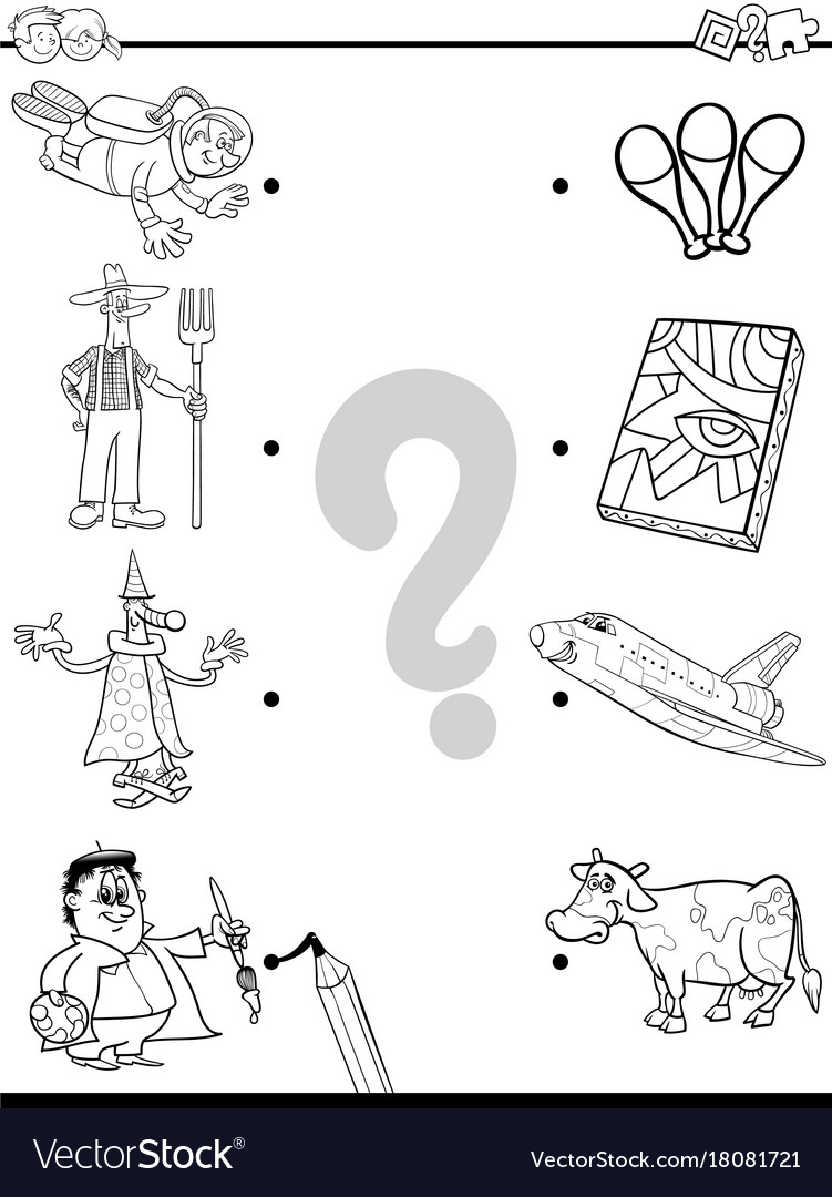 Match people and objects coloring book vector image