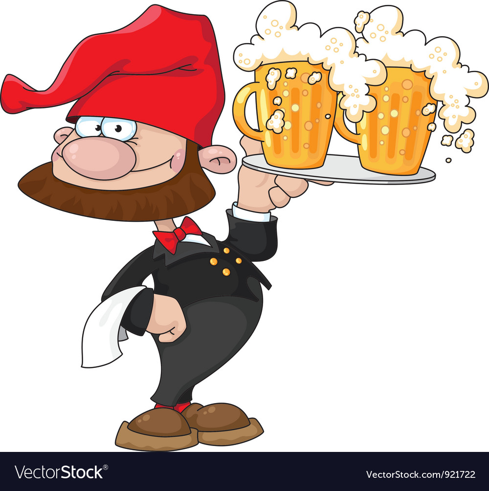 Waiter gnome with beer Vector Image