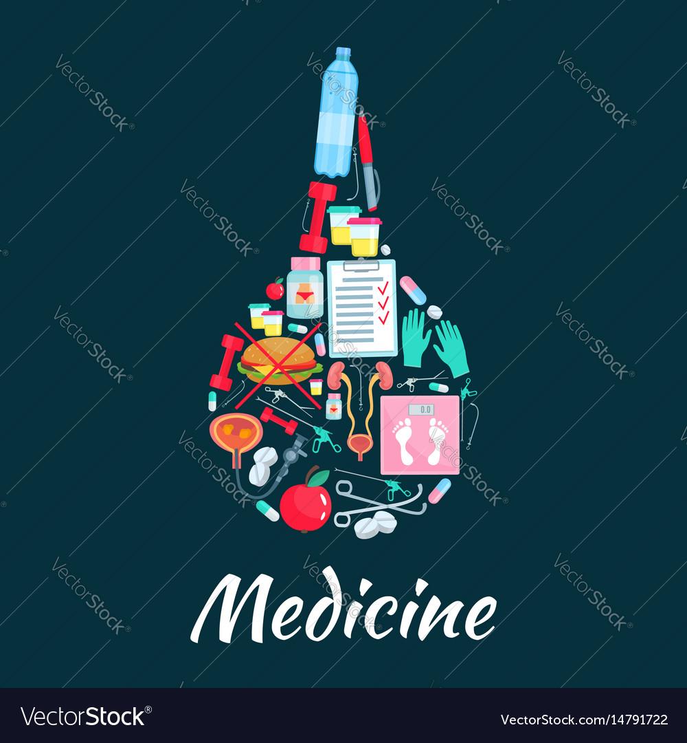 Medical enema symbol with dietetics medicine icons vector image