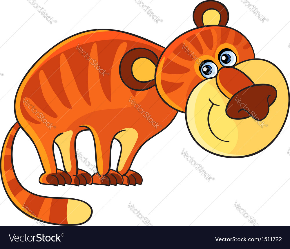 Tiger Cartoon african wild animal character vector image