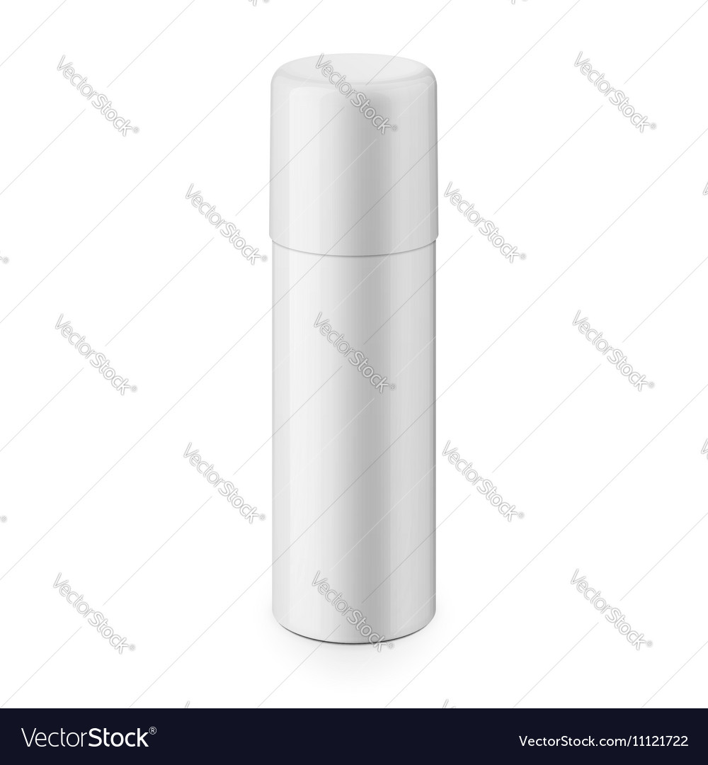 White glossy metal spray bottle with cap vector image
