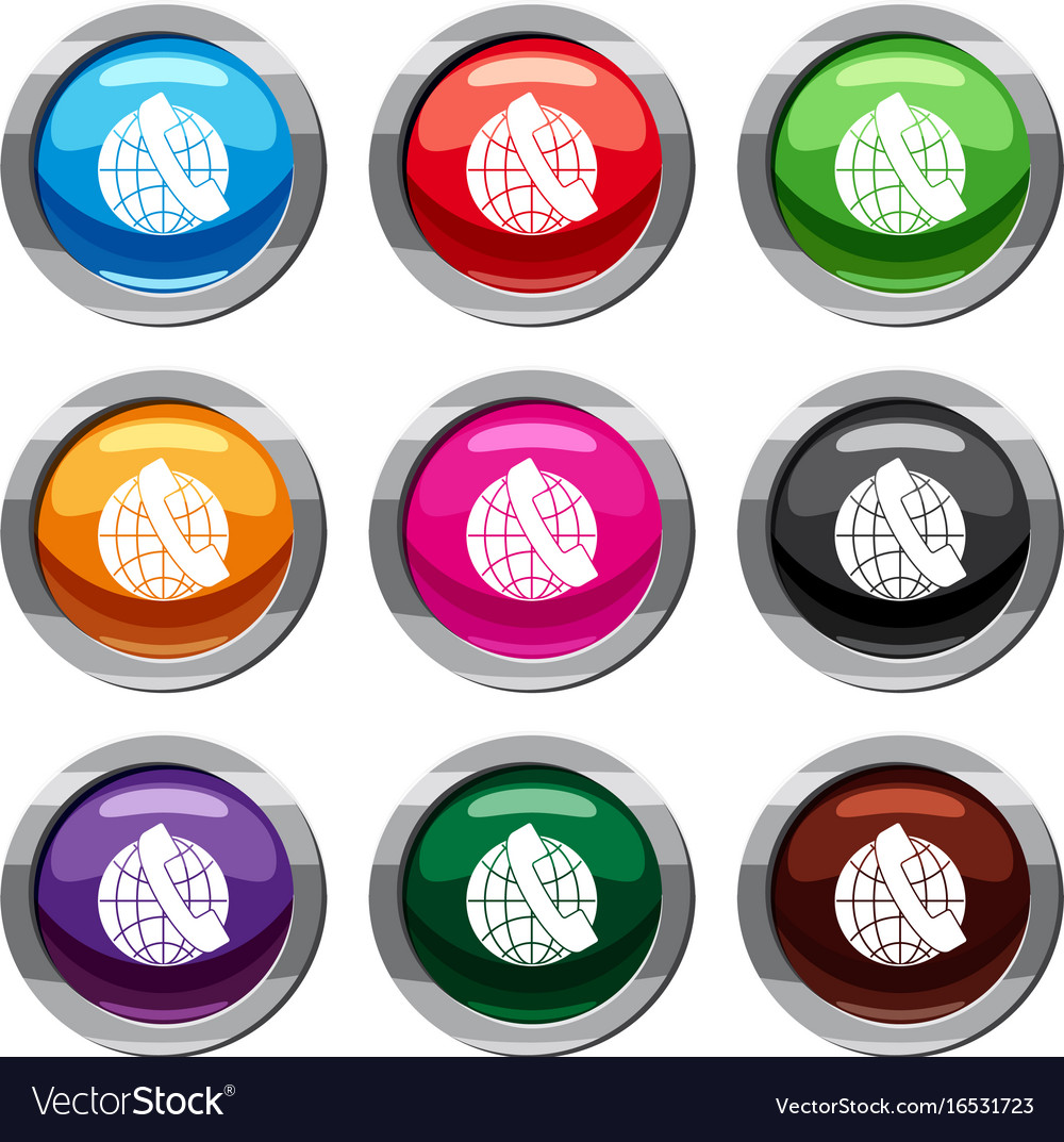Handset and globe set 9 collection vector image