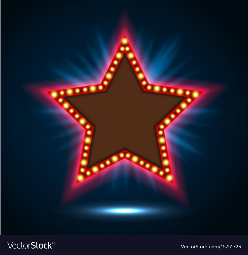 Shining blue spotlight on billboard star sign vector image