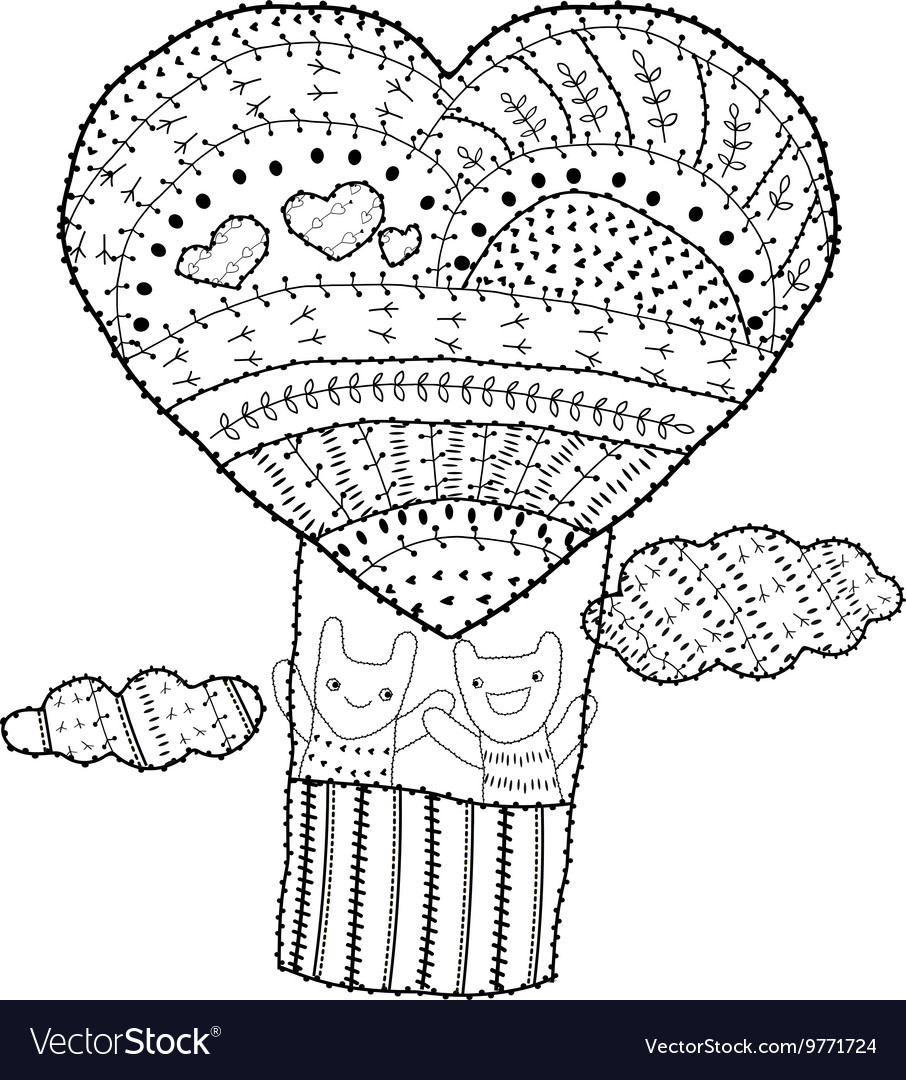 Adult coloring page Heart shaped hot air balloon Vector Image