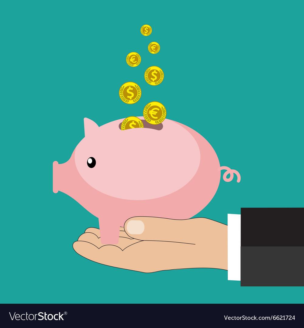 Flat saving money concept background vector image