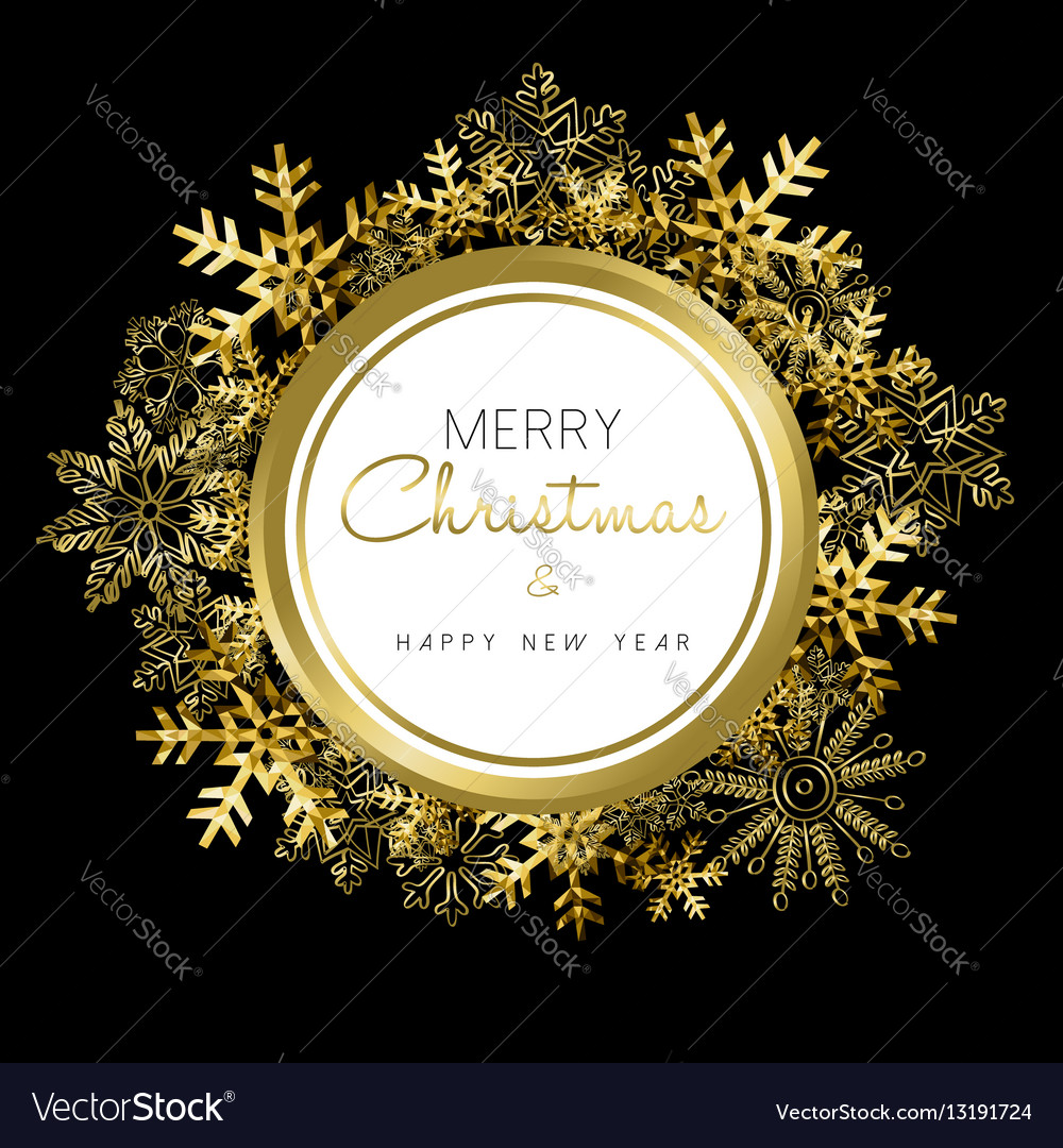 Merry Christmas and New Year gold snow wreath vector image