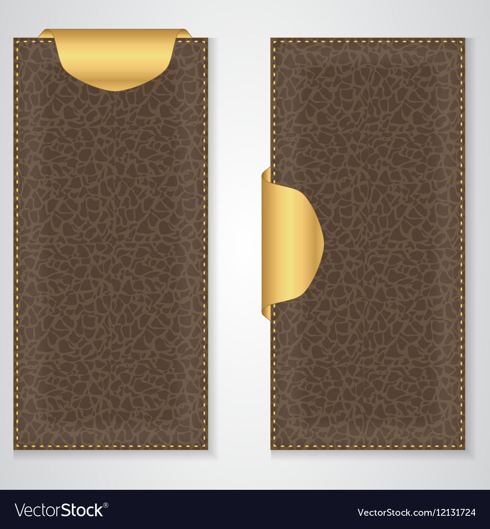 Two brown leather VIP vertical banner with a gold vector image