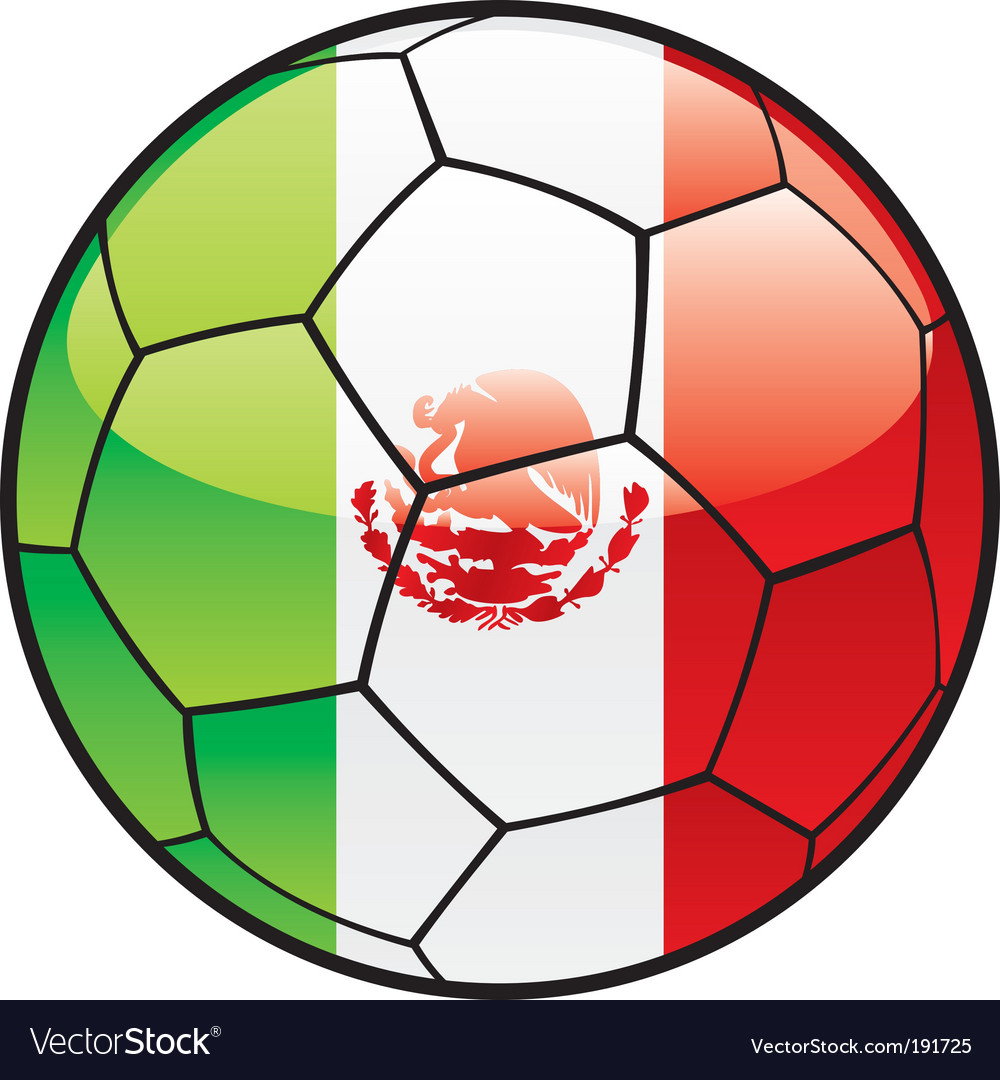 Flag of Mexico on soccer ball vector image