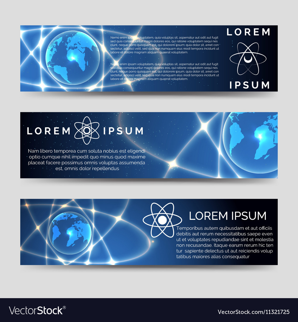 Horizontal banners set with earth sphere vector image