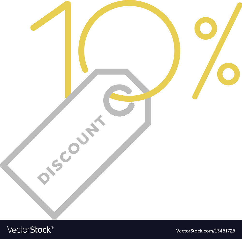 Ten percent discount logo vector image