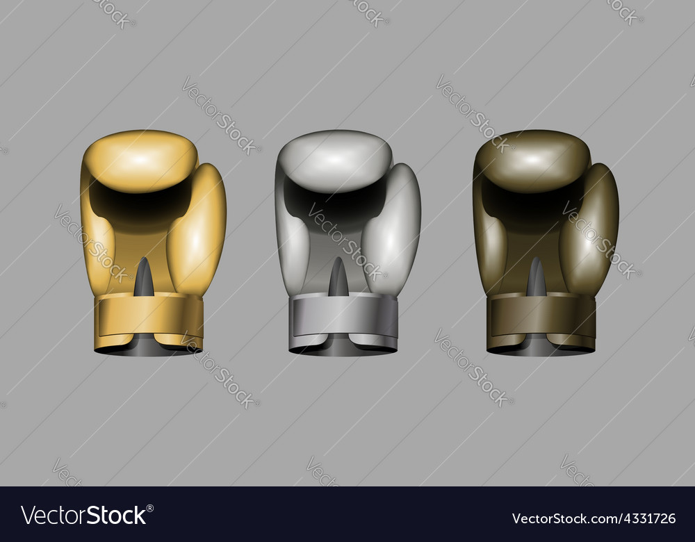Boxing gloves Set boxing Gold bronze Silver cup vector image