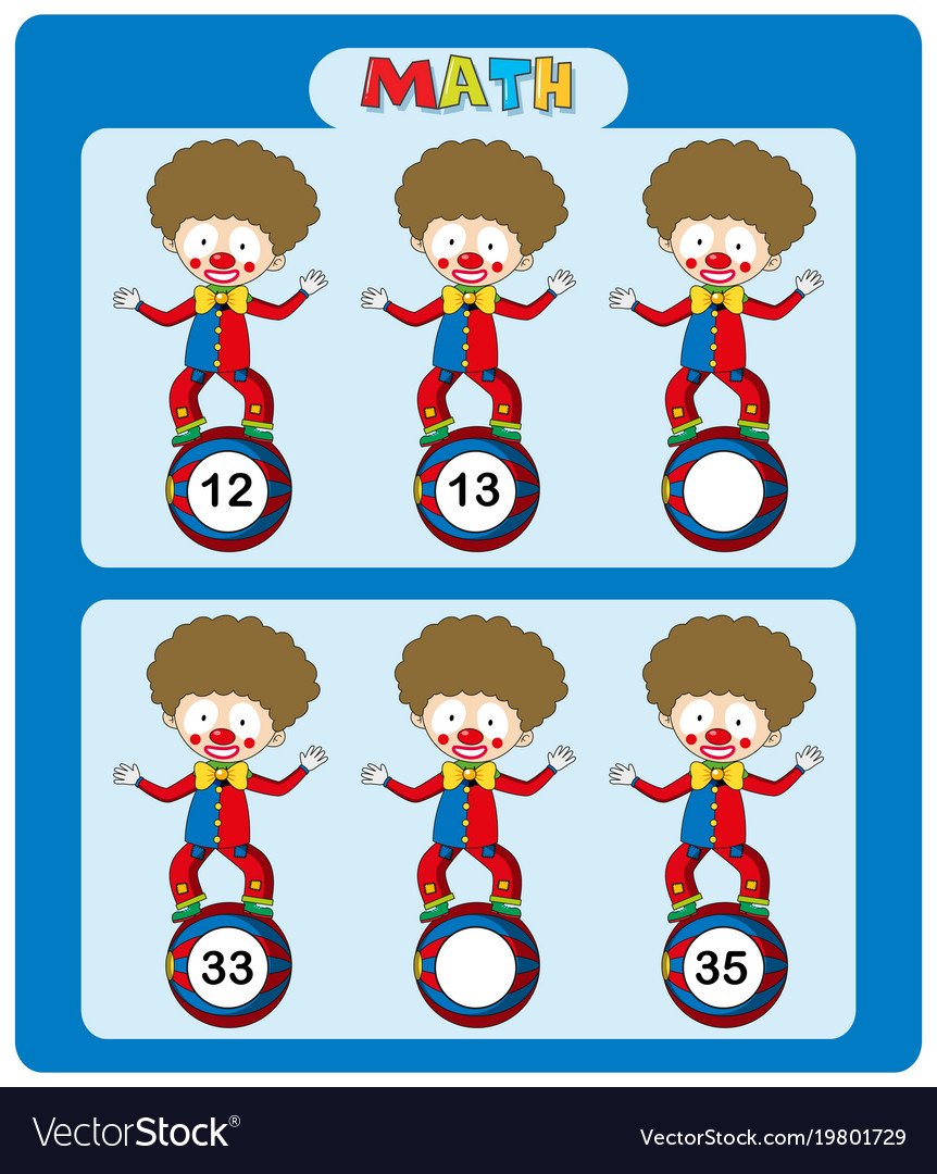 Math Worksheet Template With Circus Clowns Vector Image