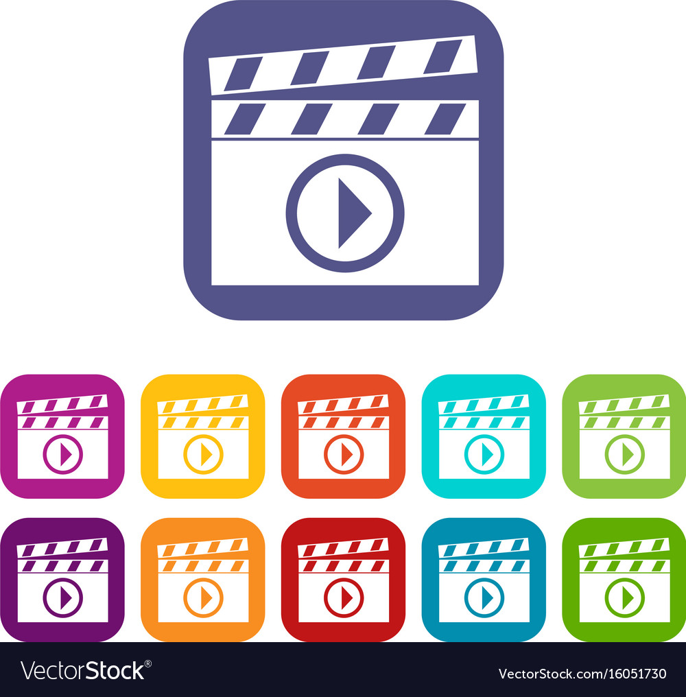 Clapperboard for movie shooting icons set vector image clapperboard for movie shooting icons set vector image biocorpaavc